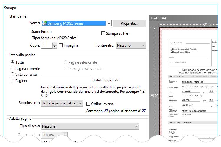 stampa pdf o cartacea della pratica edilizia