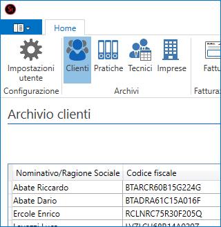 Interfaccia di Studio - Gestione Clienti
