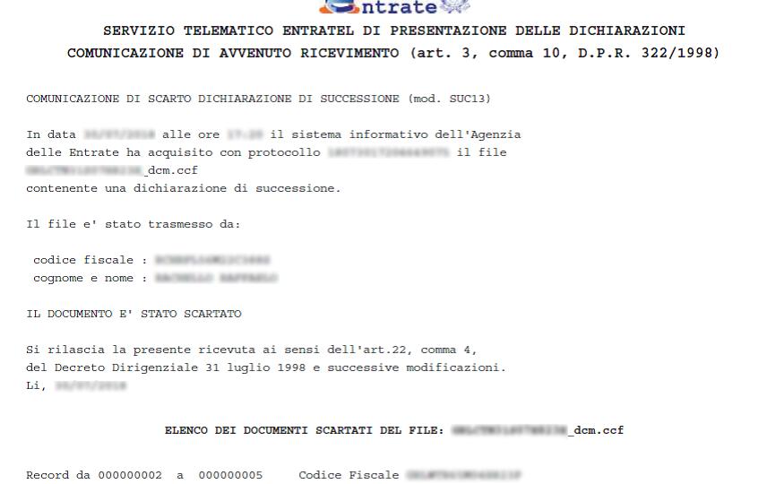 la notifica di scarto sul codice fiscale del dichiarante